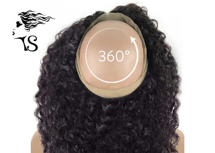 Black Women Curly 360 Lace Frontal Wig , 100% Indian Remy 360 Swiss Lace Frontal